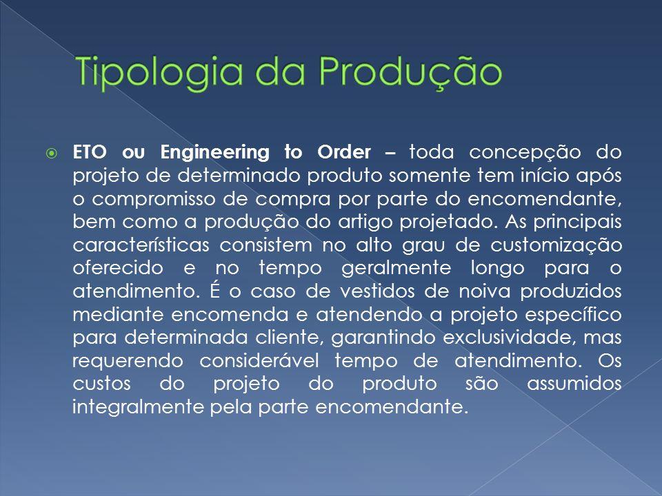 ETO ou Engineering to Order – toda concepção do projeto de determinado produto somente tem início após o compromisso de compra por parte do encomendante, bem como a produção do artigo projetado.
