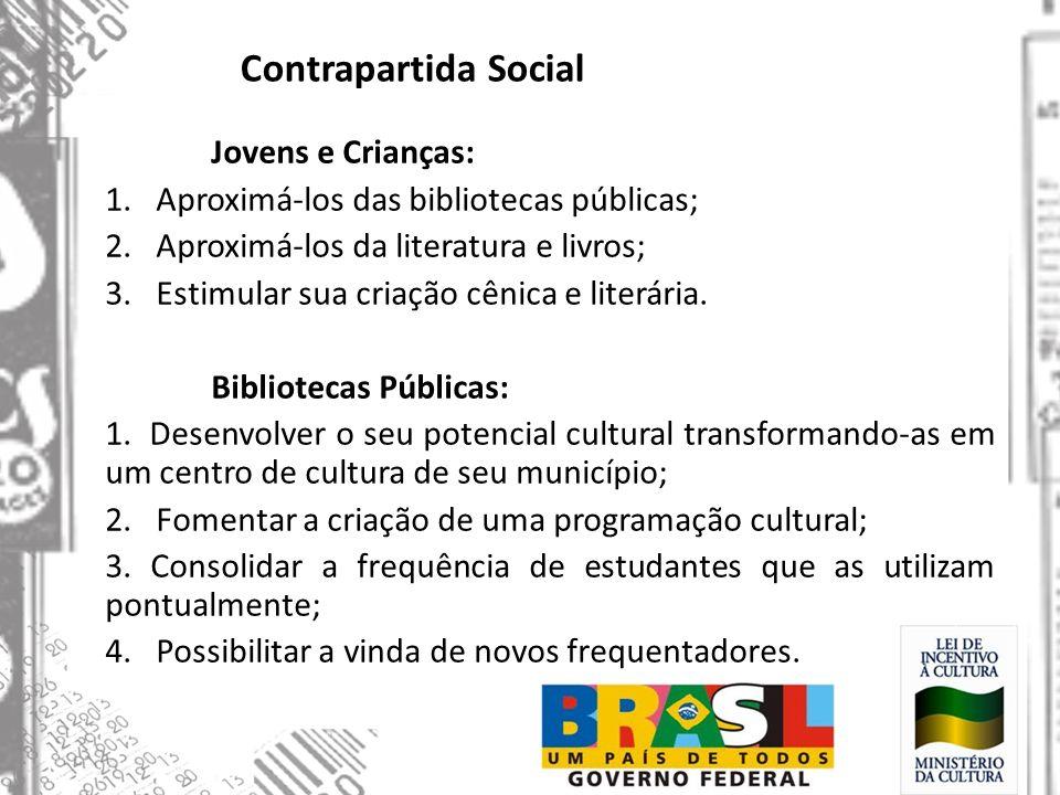 Contrapartida Social Jovens e Crianças: 1. Aproximá-los das bibliotecas públicas; 2. Aproximá-los da literatura e livros; 3. Estimular sua criação cên
