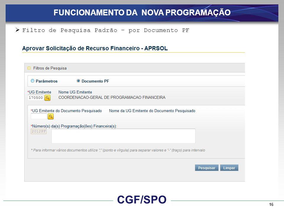 16 FUNCIONAMENTO DA NOVA PROGRAMAÇÃO Filtro de Pesquisa Padrão – por Documento PF CGF/SPO