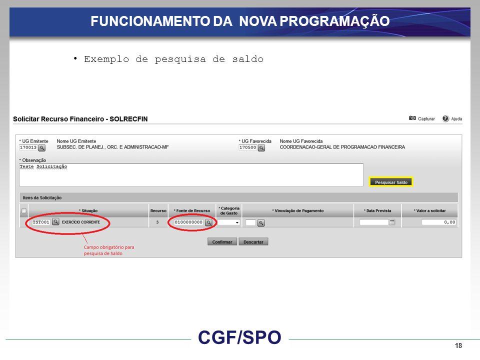 18 FUNCIONAMENTO DA NOVA PROGRAMAÇÃO Exemplo de pesquisa de saldo CGF/SPO