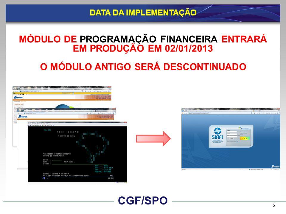 SIAFI ATUAL Situação até 31/Dez/2012 3 CGF/SPO