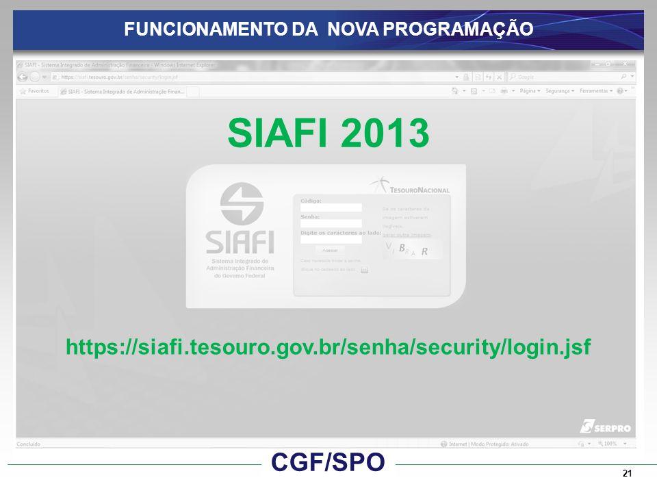21 FUNCIONAMENTO DA NOVA PROGRAMAÇÃO SIAFI 2013 https://siafi.tesouro.gov.br/senha/security/login.jsf CGF/SPO