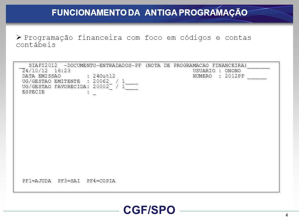 15 FUNCIONAMENTO DA NOVA PROGRAMAÇÃO CGF/SPO