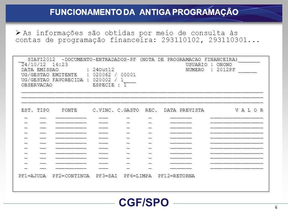7 FUNCIONAMENTO DA ANTIGA PROGRAMAÇÃO __ SIAFI2012-CPR-FLUXOCAIXA-CONFLUXO (CONSULTA FLUXO DE CAIXA)________________ DEMONSTRATIVO : 1 ESTAGIO : _ NATUREZA : _ ORGAO : _____ SUPERIOR : _ UG PAG./RECEB.
