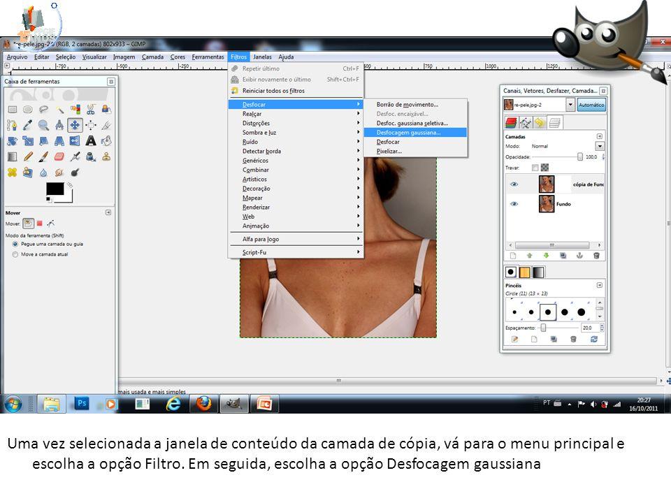 Uma vez selecionada a janela de conteúdo da camada de cópia, vá para o menu principal e escolha a opção Filtro. Em seguida, escolha a opção Desfocagem