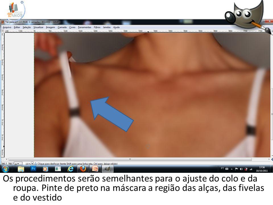 Os procedimentos serão semelhantes para o ajuste do colo e da roupa. Pinte de preto na máscara a região das alças, das fivelas e do vestido