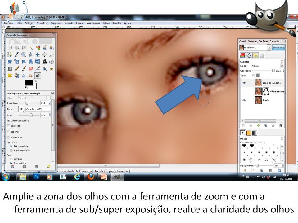 Amplie a zona dos olhos com a ferramenta de zoom e com a ferramenta de sub/super exposição, realce a claridade dos olhos