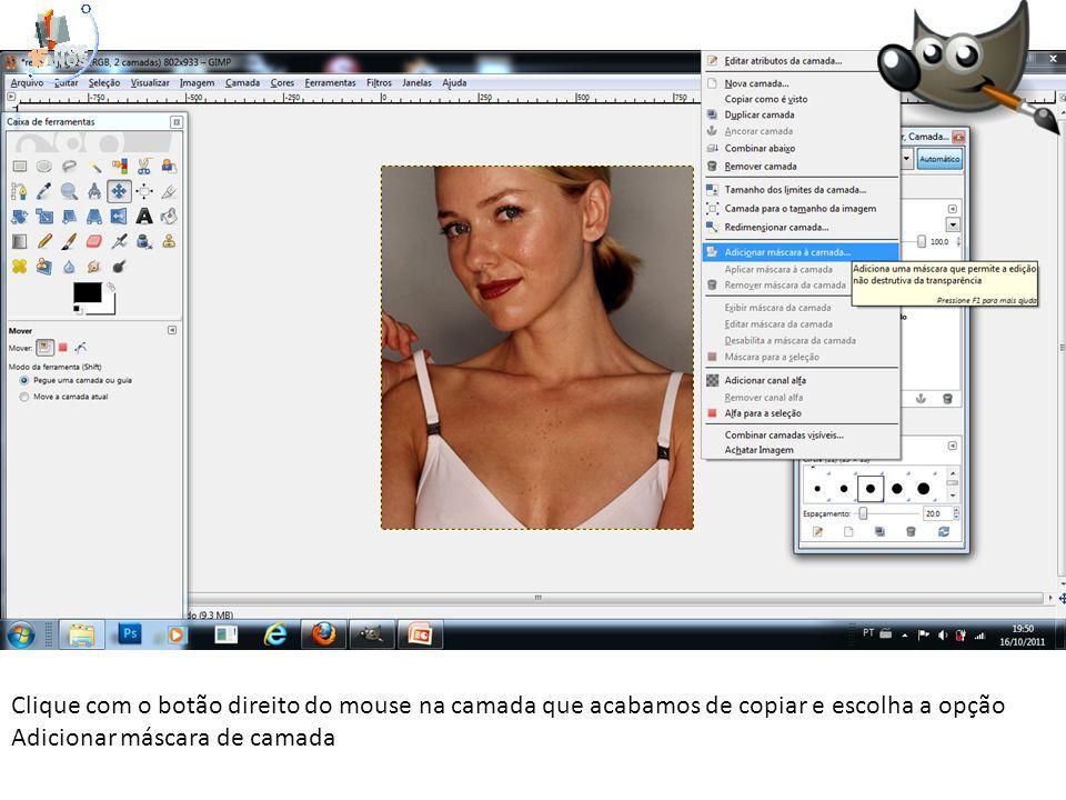 Clique com o botão direito do mouse na camada que acabamos de copiar e escolha a opção Adicionar máscara de camada