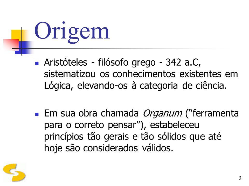4 Origem Aristóteles se preocupava com as formas de raciocínio que, a partir de conhecimentos considerados verdadeiros, permitiam obter novos conhecimentos.