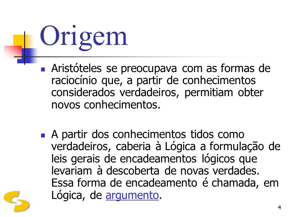 15 Validade de um Argumento A lógica se preocupa com o relacionamento entre as premissas e a conclusão, ou seja, com a estrutura e a forma do raciocínio.