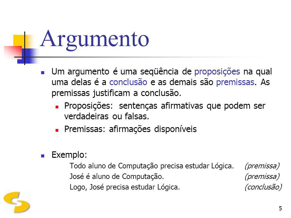 6 Argumento O objetivo de um argumento é justificar uma afirmação que se faz, ou dar as razões para uma certa conclusão obtida.