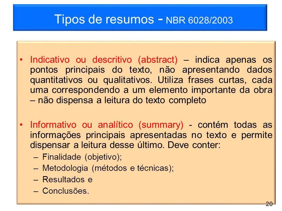 Tipos de resumos - NBR 6028/2003 Indicativo ou descritivo (abstract) – indica apenas os pontos principais do texto, não apresentando dados quantitativ