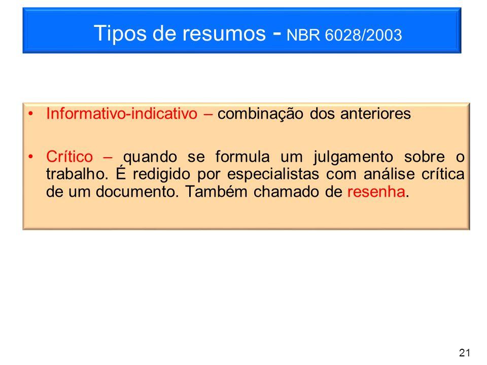 Tipos de resumos - NBR 6028/2003 Informativo-indicativo – combinação dos anteriores Crítico – quando se formula um julgamento sobre o trabalho. É redi