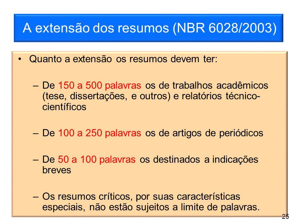 A extensão dos resumos (NBR 6028/2003) Quanto a extensão os resumos devem ter: –De 150 a 500 palavras os de trabalhos acadêmicos (tese, dissertações,