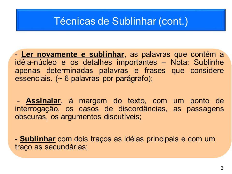 Técnicas de Sublinhar (cont.) - Ler novamente e sublinhar, as palavras que contém a idéia-núcleo e os detalhes importantes – Nota: Sublinhe apenas det