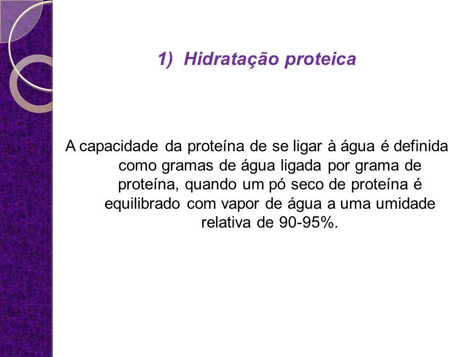 1)Hidratação proteica A capacidade da proteína de se ligar à água é definida como gramas de água ligada por grama de proteína, quando um pó seco de pr