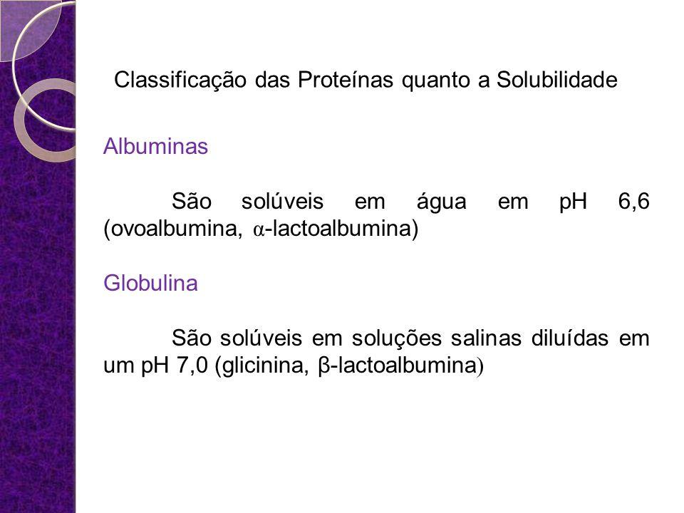 Classificação das Proteínas quanto a Solubilidade Albuminas São solúveis em água em pH 6,6 (ovoalbumina, α -lactoalbumina) Globulina São solúveis em s