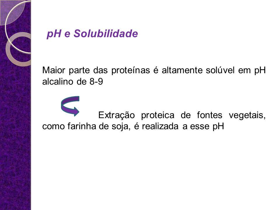 pH e Solubilidade Maior parte das proteínas é altamente solúvel em pH alcalino de 8-9 Extração proteica de fontes vegetais, como farinha de soja, é re