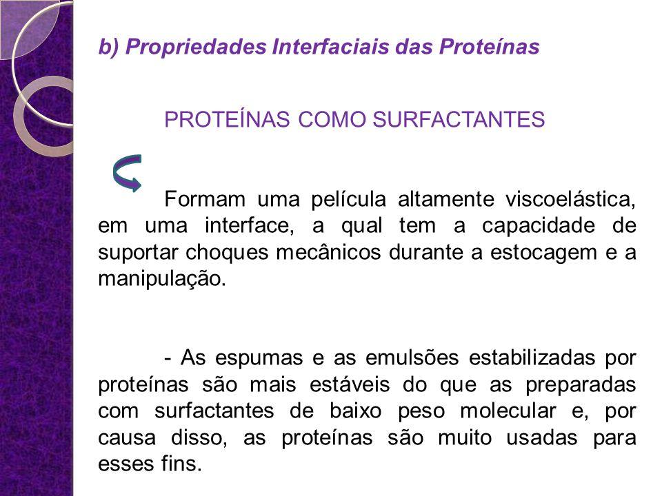 b) Propriedades Interfaciais das Proteínas PROTEÍNAS COMO SURFACTANTES Formam uma película altamente viscoelástica, em uma interface, a qual tem a cap