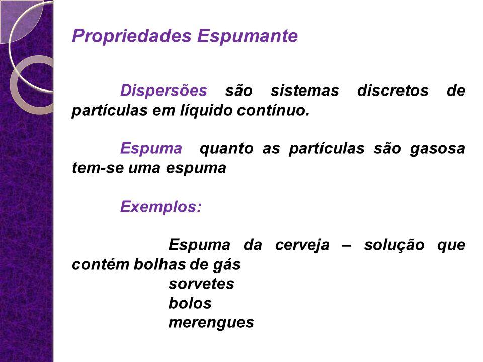 Propriedades Espumante Dispersões são sistemas discretos de partículas em líquido contínuo. Espuma quanto as partículas são gasosa tem-se uma espuma E