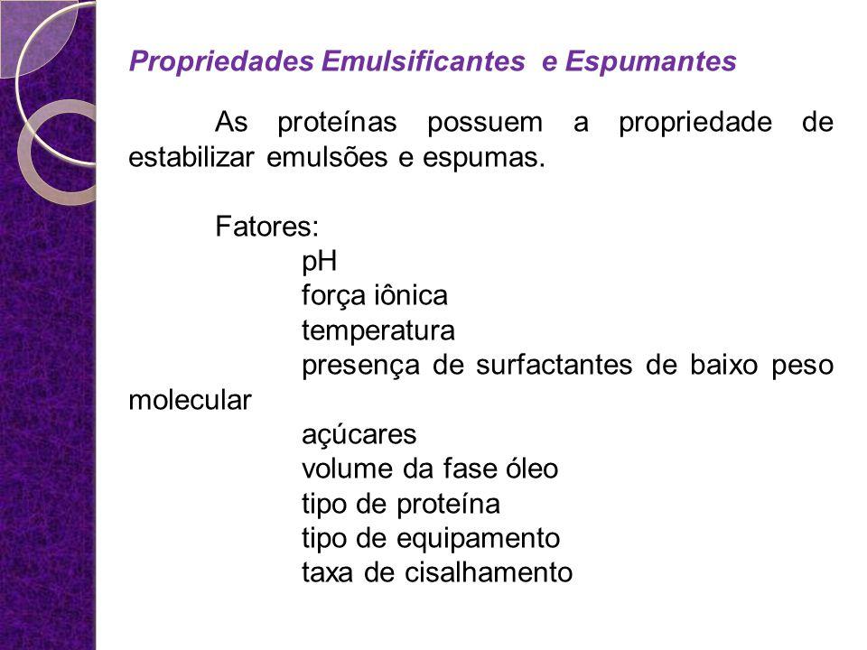 Propriedades Emulsificantes e Espumantes As proteínas possuem a propriedade de estabilizar emulsões e espumas. Fatores: pH força iônica temperatura pr