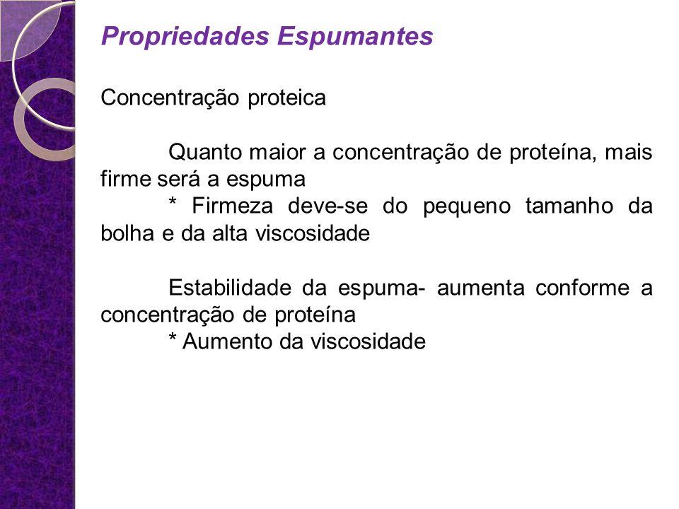 Propriedades Espumantes Concentração proteica Quanto maior a concentração de proteína, mais firme será a espuma * Firmeza deve-se do pequeno tamanho d