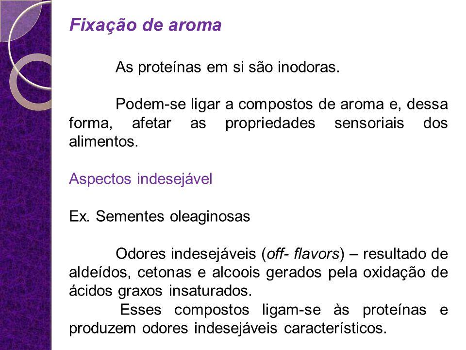 Fixação de aroma As proteínas em si são inodoras. Podem-se ligar a compostos de aroma e, dessa forma, afetar as propriedades sensoriais dos alimentos.