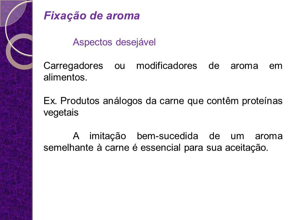 Fixação de aroma Aspectos desejável Carregadores ou modificadores de aroma em alimentos. Ex. Produtos análogos da carne que contêm proteínas vegetais