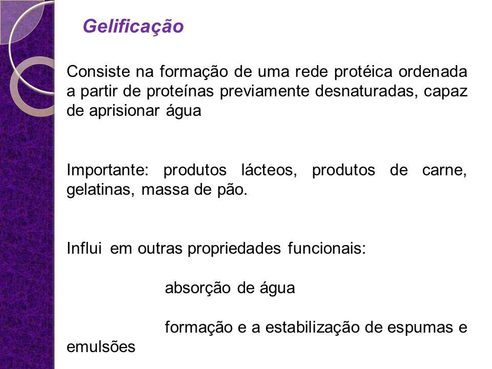 Gelificação Consiste na formação de uma rede protéica ordenada a partir de proteínas previamente desnaturadas, capaz de aprisionar água Importante: pr