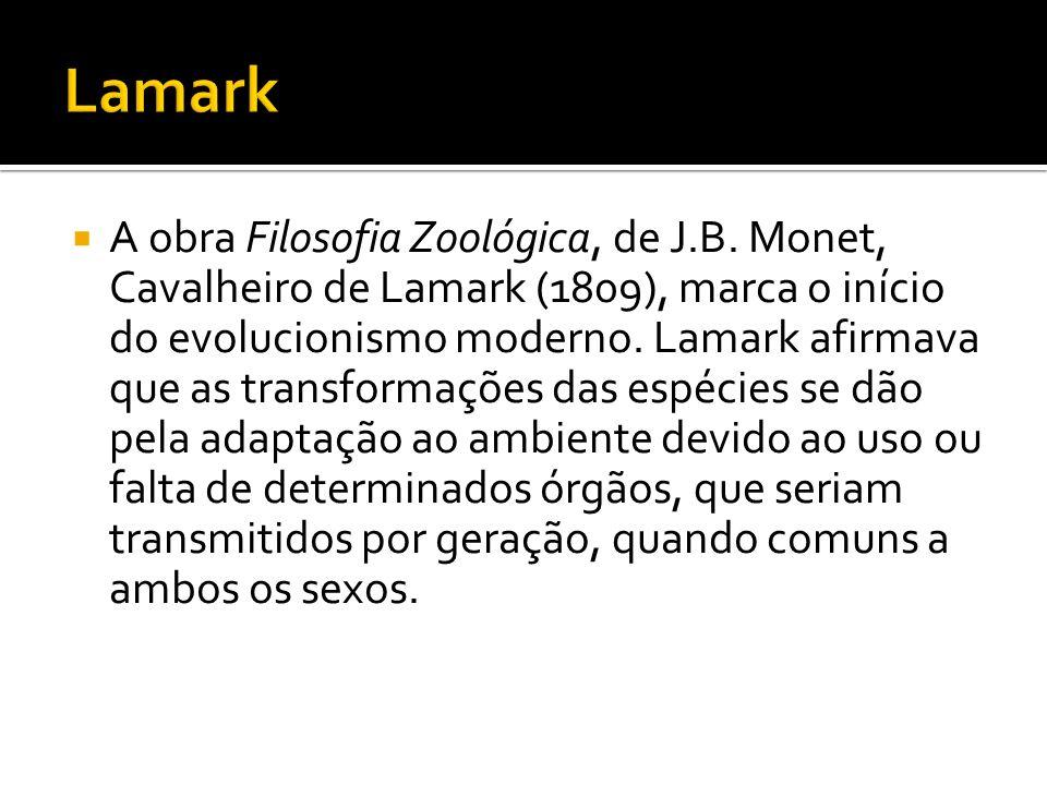 A obra Filosofia Zoológica, de J.B. Monet, Cavalheiro de Lamark (1809), marca o início do evolucionismo moderno. Lamark afirmava que as transformações