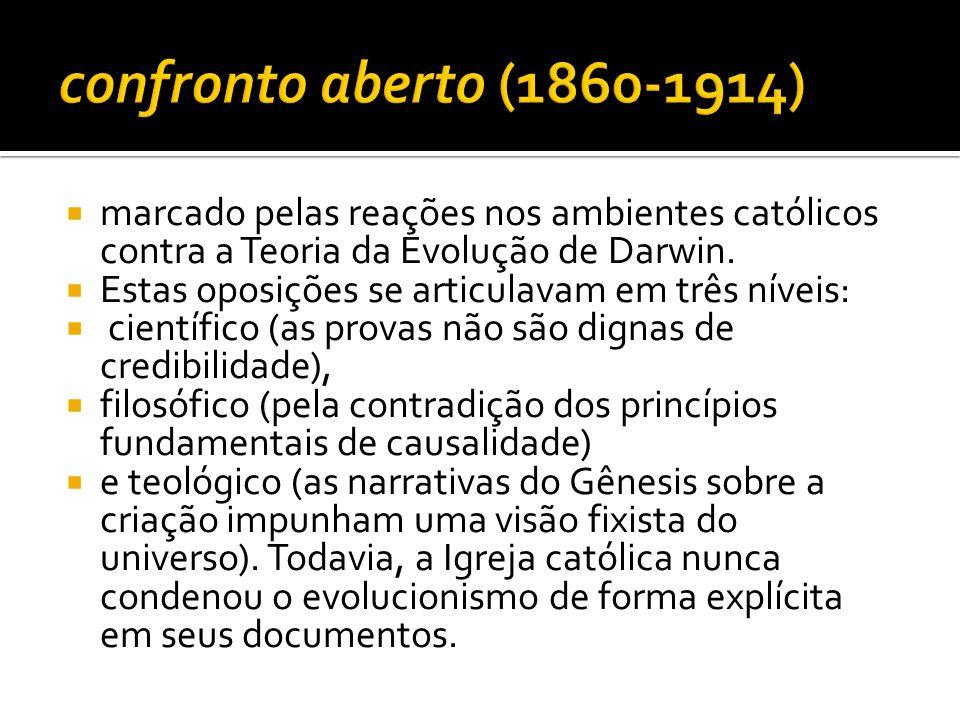 marcado pelas reações nos ambientes católicos contra a Teoria da Evolução de Darwin. Estas oposições se articulavam em três níveis: científico (as pro