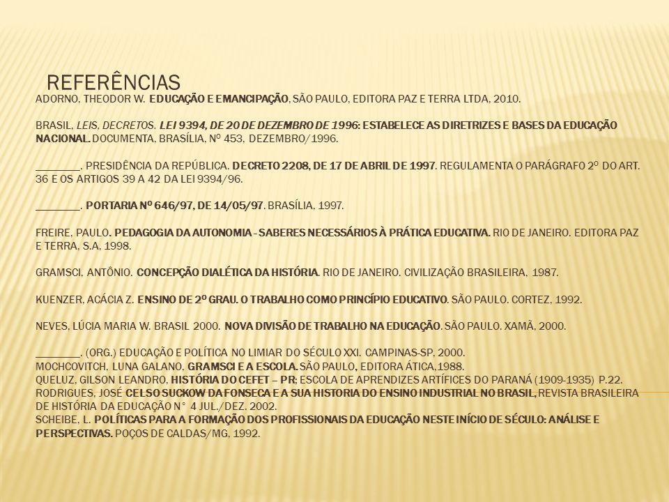 ADORNO, THEODOR W. EDUCAÇÃO E EMANCIPAÇÃO, SÃO PAULO, EDITORA PAZ E TERRA LTDA, 2010. BRASIL, LEIS, DECRETOS. LEI 9394, DE 20 DE DEZEMBRO DE 1996: EST