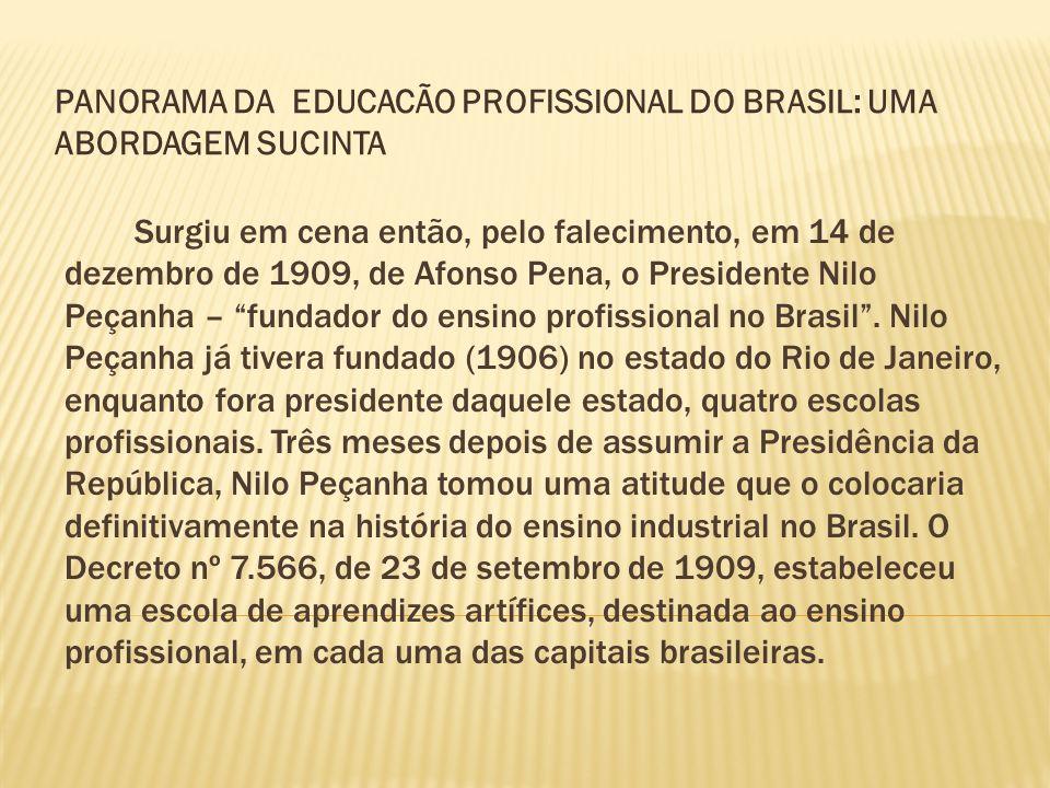 Surgiu em cena então, pelo falecimento, em 14 de dezembro de 1909, de Afonso Pena, o Presidente Nilo Peçanha – fundador do ensino profissional no Bras