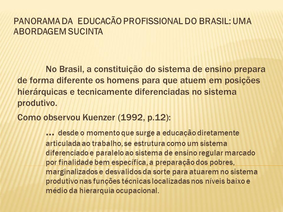 No Brasil, a constituição do sistema de ensino prepara de forma diferente os homens para que atuem em posições hierárquicas e tecnicamente diferenciad