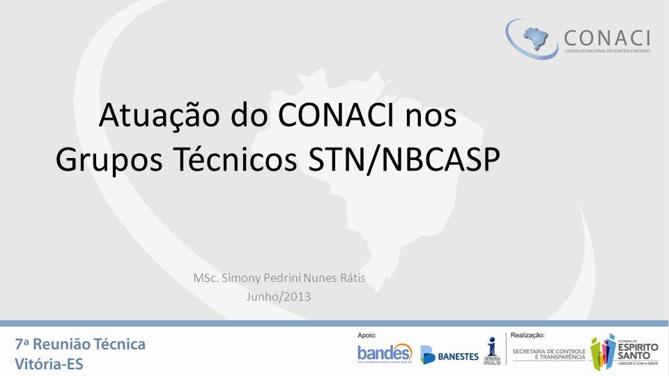 Atuação do CONACI nos Grupos Técnicos STN/NBCASP MSc. Simony Pedrini Nunes Rátis Junho/2013