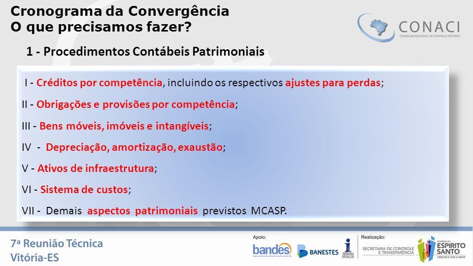 Cronograma da Convergência O que precisamos fazer? I - Créditos por competência, incluindo os respectivos ajustes para perdas; II - Obrigações e provi