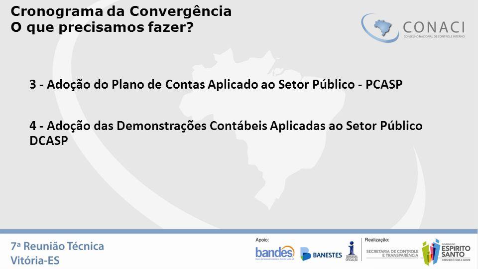 Cronograma da Convergência O que precisamos fazer? 4 - Adoção das Demonstrações Contábeis Aplicadas ao Setor Público DCASP 3 - Adoção do Plano de Cont