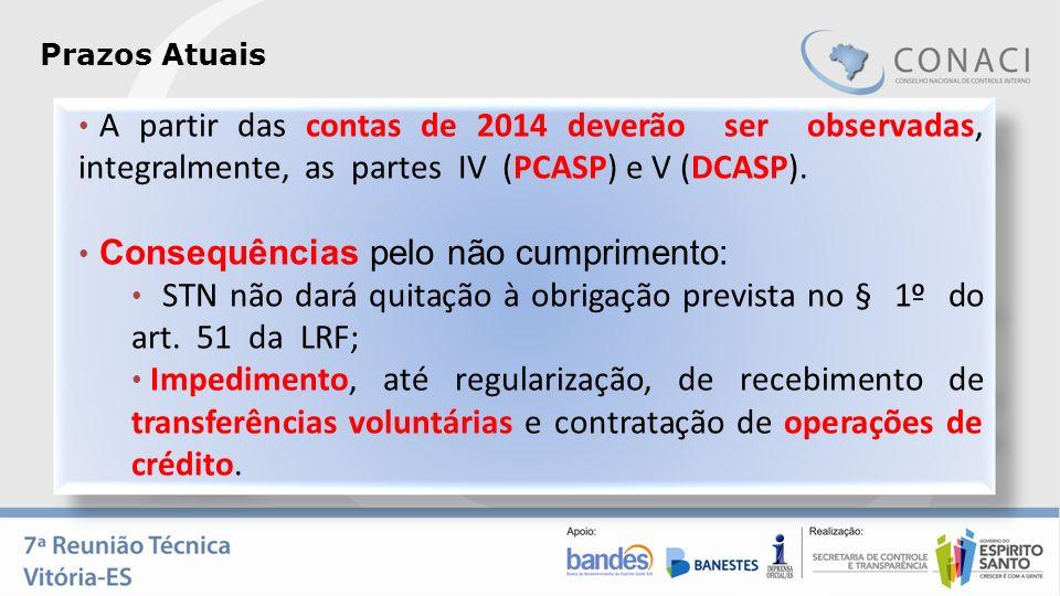 A partir das contas de 2014 deverão ser observadas, integralmente, as partes IV (PCASP) e V (DCASP). Consequências pelo não cumprimento: STN não dará