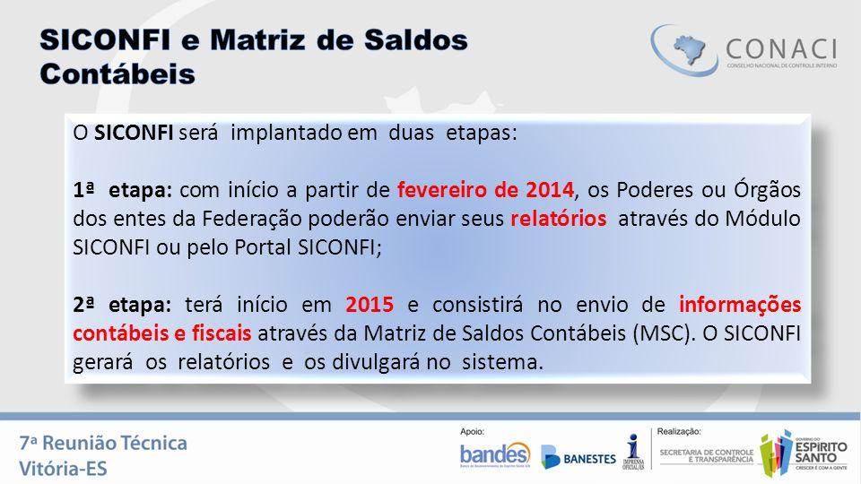 O SICONFI será implantado em duas etapas: 1ª etapa: com início a partir de fevereiro de 2014, os Poderes ou Órgãos dos entes da Federação poderão envi