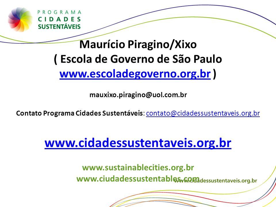 Maurício Piragino/Xixo ( Escola de Governo de São Paulo www.escoladegoverno.org.brwww.escoladegoverno.org.br ) mauxixo.piragino@uol.com.br Contato Pro