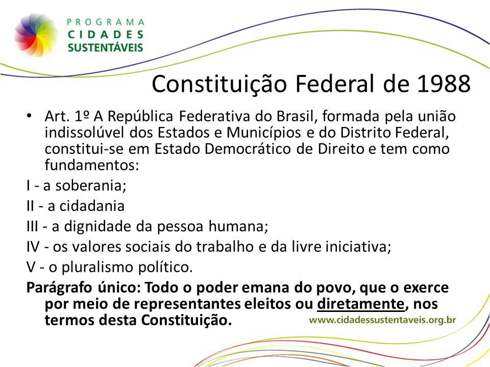 Constituição Federal de 1988 Art. 1º A República Federativa do Brasil, formada pela união indissolúvel dos Estados e Municípios e do Distrito Federal,