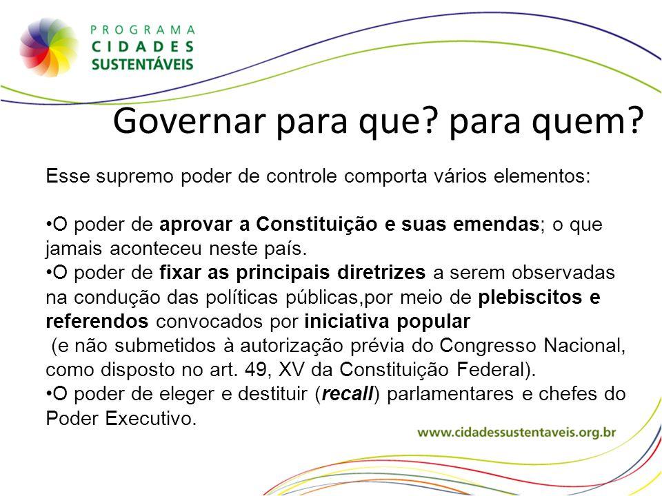 Governar para que? para quem? Esse supremo poder de controle comporta vários elementos: O poder de aprovar a Constituição e suas emendas; o que jamais