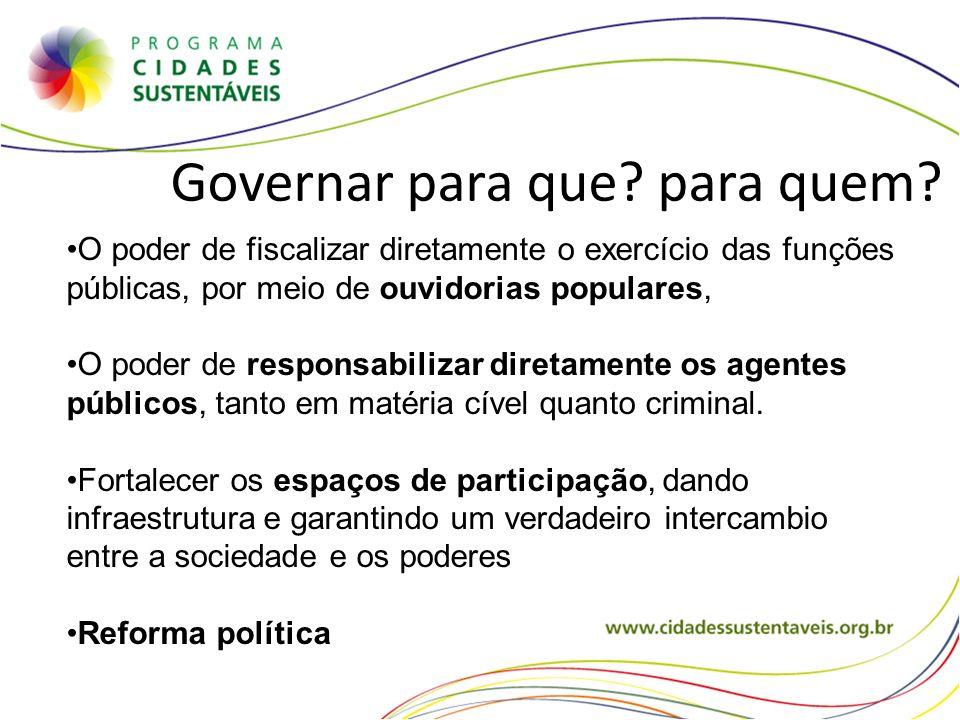 Governar para que? para quem? O poder de fiscalizar diretamente o exercício das funções públicas, por meio de ouvidorias populares, O poder de respons
