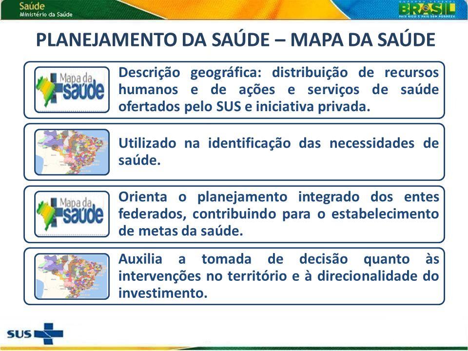Descrição geográfica: distribuição de recursos humanos e de ações e serviços de saúde ofertados pelo SUS e iniciativa privada.