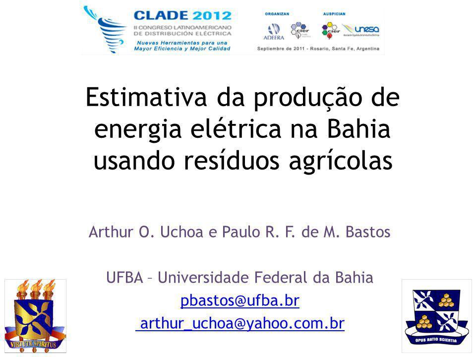 Estimativa da produção de energia elétrica na Bahia usando resíduos agrícolas Arthur O. Uchoa e Paulo R. F. de M. Bastos UFBA – Universidade Federal d