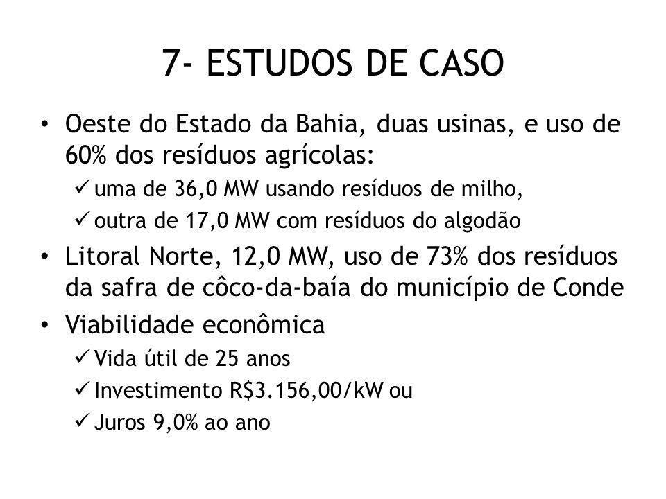 7- ESTUDOS DE CASO Oeste do Estado da Bahia, duas usinas, e uso de 60% dos resíduos agrícolas: uma de 36,0 MW usando resíduos de milho, outra de 17,0