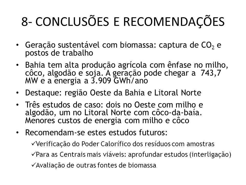 8- CONCLUSÕES E RECOMENDAÇÕES Geração sustentável com biomassa: captura de CO 2 e postos de trabalho Bahia tem alta produção agrícola com ênfase no mi