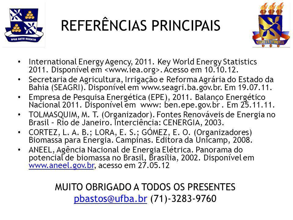 REFERÊNCIAS PRINCIPAIS International Energy Agency, 2011. Key World Energy Statistics 2011. Disponível em. Acesso em 10.10.12. Secretaria de Agricultu