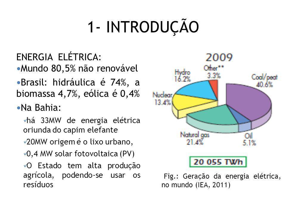 1- INTRODUÇÃO ENERGIA ELÉTRICA: Mundo 80,5% não renovável Brasil: hidráulica é 74%, a biomassa 4,7%, eólica é 0,4% Na Bahia: há 33MW de energia elétri