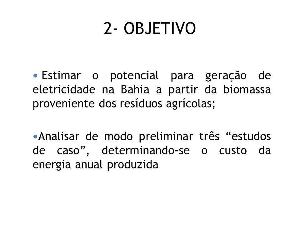 2- OBJETIVO Estimar o potencial para geração de eletricidade na Bahia a partir da biomassa proveniente dos resíduos agrícolas; Analisar de modo prelim